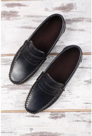 Shoes&Moda Lacivert Hakiki Deri Ayakkabı