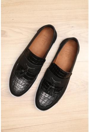 Crops Sport Siyah Hakiki Deri Ayakkabı