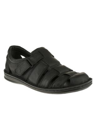 Muya 90029 Cırtlı Comfort Siyah Erkek Sandalet