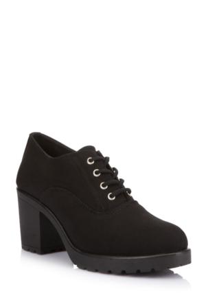 DeFacto Kadın Yüksek Topuk Bağcıklı Ayakkabı Siyah
