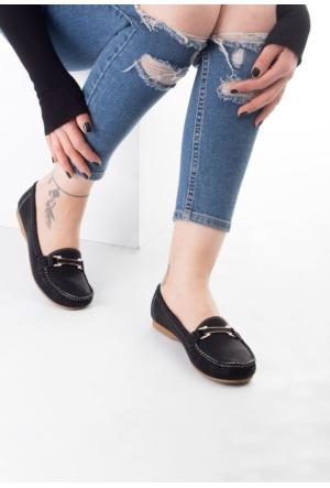 Erbilden Arm Siyah Cilt Tokalı Bayan Babet Ayakkabı