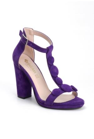 Erbilden Erb Mor Süet Ön Bantlı Kemerli Bayan Topuklu Ayakkabı
