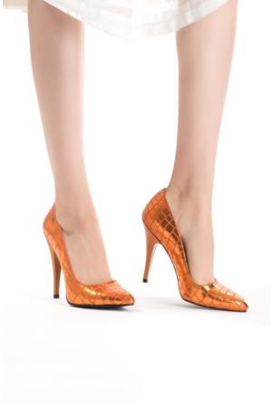 Erbilden Erb Turuncu Desenli Bayan Stiletto Ayakkabı