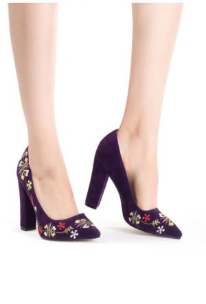 Erbilden Erb Mor İşlemeli Bayan Kalın Topuk Ayakkabı