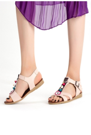 Erbilden İfs Krem Cilt Boncuklu Bayan Sandalet Ayakkabı