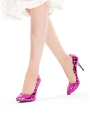 Erbilden Fuşya Desenli Kadın Stiletto Ayakkabı