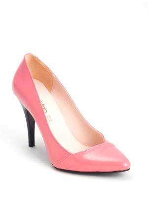 Erbilden Şeker Pembesi Rugan Yan Kesim Kadın Stiletto Ayakkabı