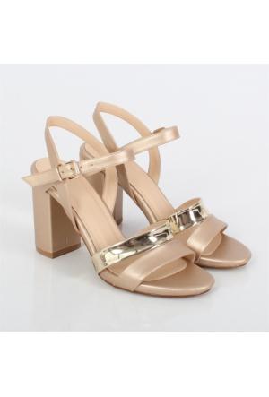 Lonar Altın Kalın Topuklu Kadın Ayakkabı 504