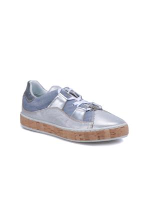 Butigo 2886/08 Gümüş Kadın Deri Sneaker Ayakkabı