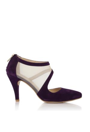 EsMODA Cc-191 Mor Süet Klasik Topuklu Ayakkabı