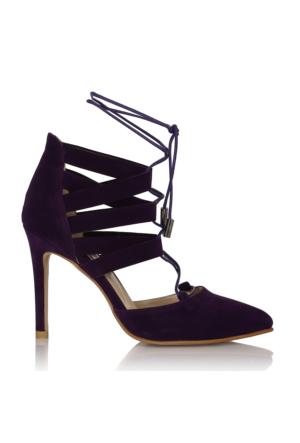 EsMODA Cc-555 Mor Süet Kadın Topuklu Ayakkabı