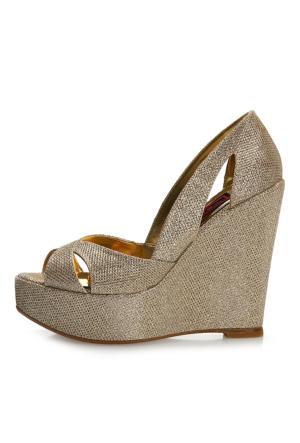 EsMODA Cm-001 Altın Dolgu Topuklu Ayakkabı