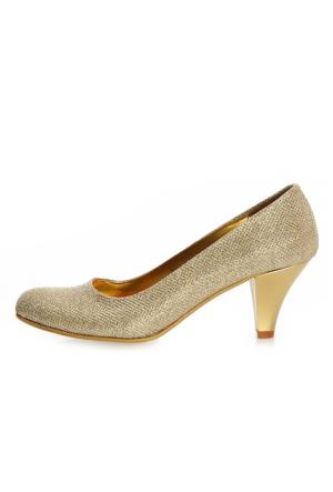 EsMODA Ma-006 Altın Simli Klasik Kısa Topuklu Ayakkabı