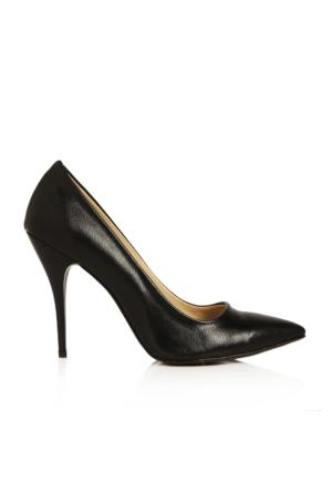 EsMODA Ma-021 Siyah Deri Klasik Topuklu Stiletto
