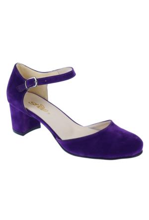 Shalin Alçak Ökçe Kadın Ayakkabı-Bşk 1036-Mor Süet