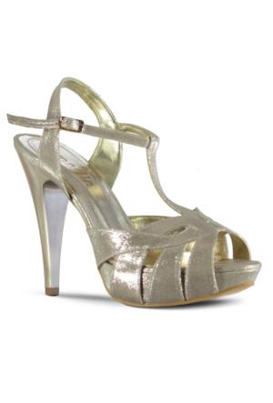 Marjin Elase Abiye Topuklu Ayakkabı Pudra Altın
