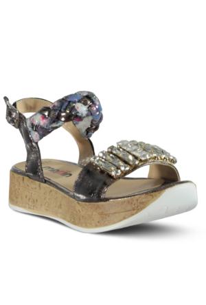 Marjin İrsal Dolgu Topuk Sandalet Gümüş
