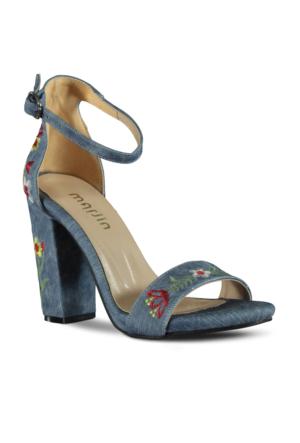 Marjin Lerya Topuklu Ayakkabı Mavi Kot