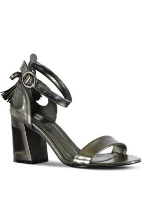 Marjin Alente Topuklu Abiye Ayakkabı Platin