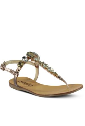 Marjin Simsa Düz Sandalet Pudra Altın