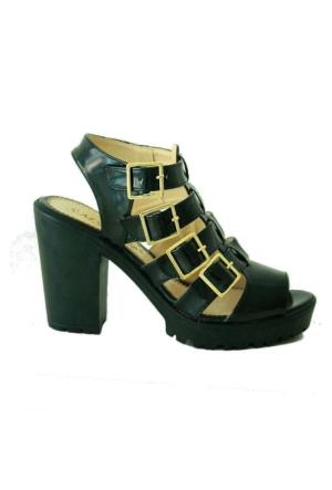 Sms 1123 Topuklu Kadın Sandalet Siyahrugan