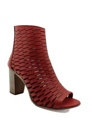 Mammamia D16Ya-3440 Topuklu Deri Kadın Ayakkabı Kırmızı