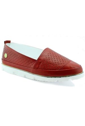 Mammamia D16Ya-3680 Ortopedik Deri Kadın Ayakkabı Kırmızı