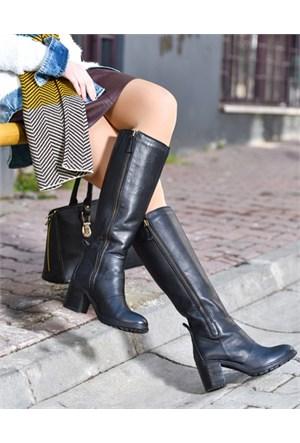 Bueno Siyah Fermuarlı Düz Deri Kadın Çizme