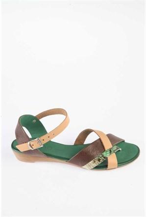 Bueno Kahve Yeşil Yılan Deri Sandalet