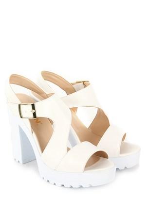 Gön Kadın Sandalet 36132 Beyaz