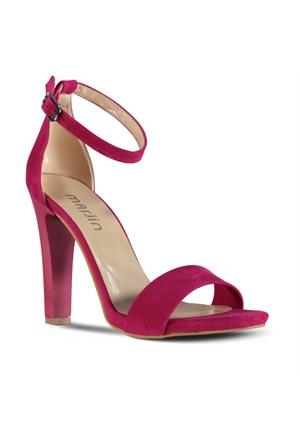 Marjin Perci Topuklu Ayakkabı Fuşya Süet