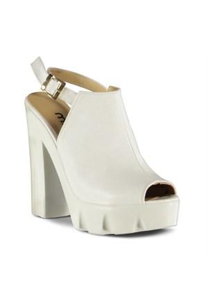 Marjin Outlet Retuna Dolgu Topuklu Sandalet Beyaz