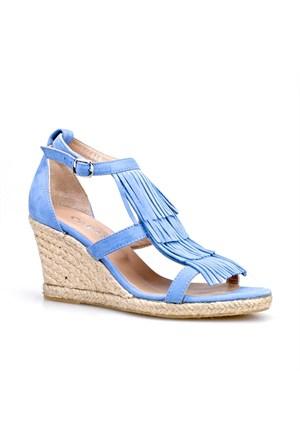 Cabani Püsküllü Kadın Sandalet Mavi Nubuk