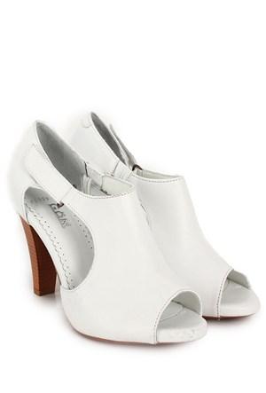 Gön Deri Kadın Sandalet 25959 Beyaz