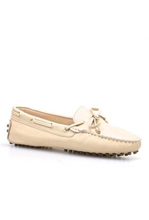 Cabani Fiyonklu Kadın Ayakkabı Bej Deri