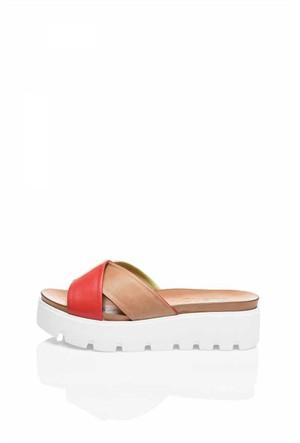 Bueno Renkli Kırmızı Deri Dolgu Topuk Kadın Terlik