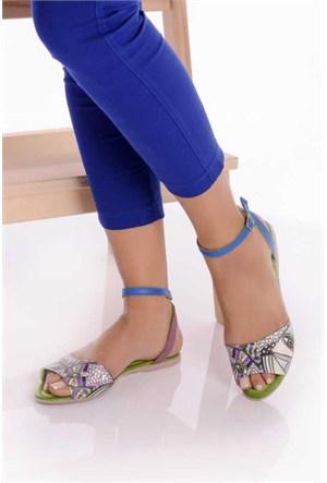 Bueno Açık Yeşil Baskılı Hakiki Deri Sandalet