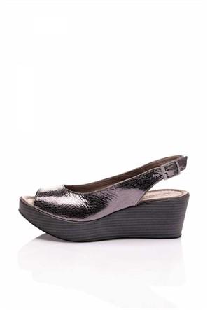 Bueno Gümüş Dolgu Topuk Kadın Deri Ayakkabı