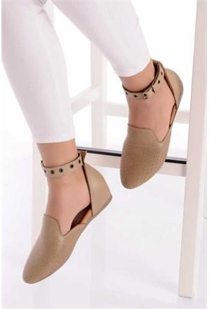 Bueno Vizon Önü Kapalı Hakiki Deri Kadın Sandalet