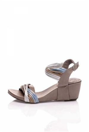 Bueno Mavi Beyaz Simli Deri Kadın Sandalet