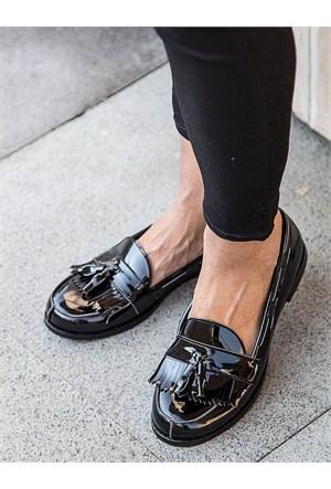 Mecrea Exclusive Jack Siyah Rugan Loafer Ayakkabı