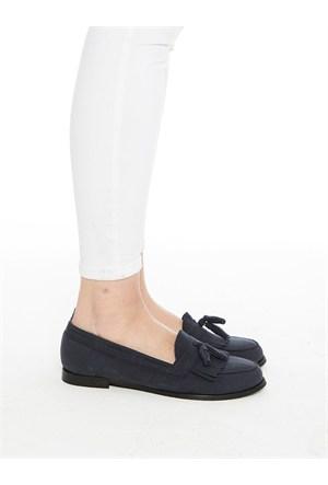 Mecrea Exclusive Jack Lacivert Süet Püsküllü Loafer Ayakkabı