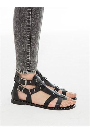Mecrea Exclusive Lima Siyah Taşlı Parmak Arası Sandalet