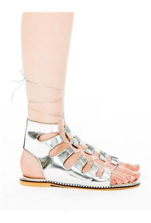 Mecrea Exclusive Galea Gümüş Ayna Dekolte Sandalet