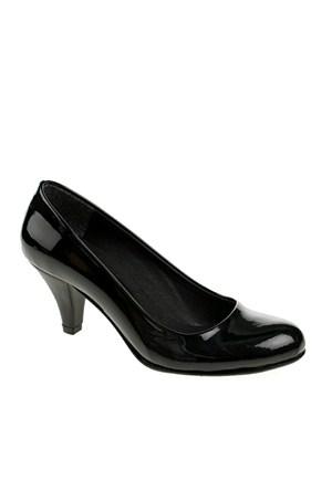 Derigo Kadın Topuklu Ayakkabı Siyah Rugan