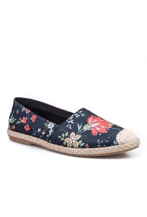 Cabani Çiçek Desenli Günlük Kadın Ayakkabı Karışık Keten