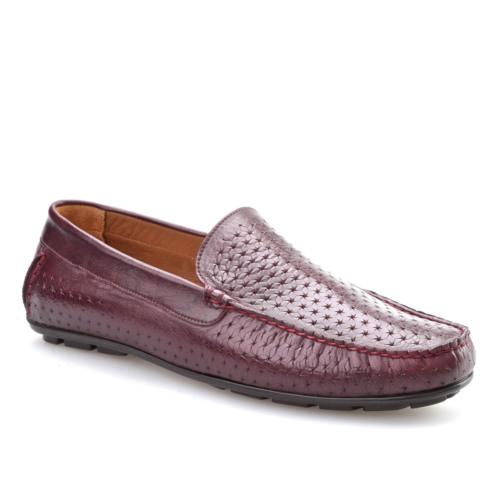 Cabani Kesikli Sneaker Erkek Ayakkabı Bordo Deri