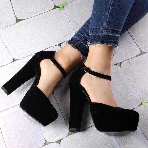 İnce Topuk Siyah Süet Kalın Topuklu Platform Ayakkabı