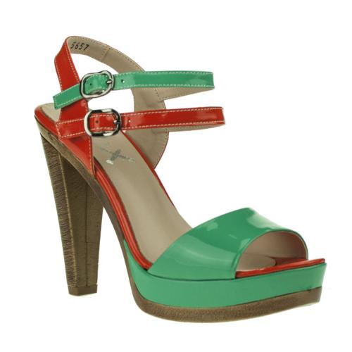 Damlax Bilekte Cift Toka Trend Yeşil Kadın Ayakkabı