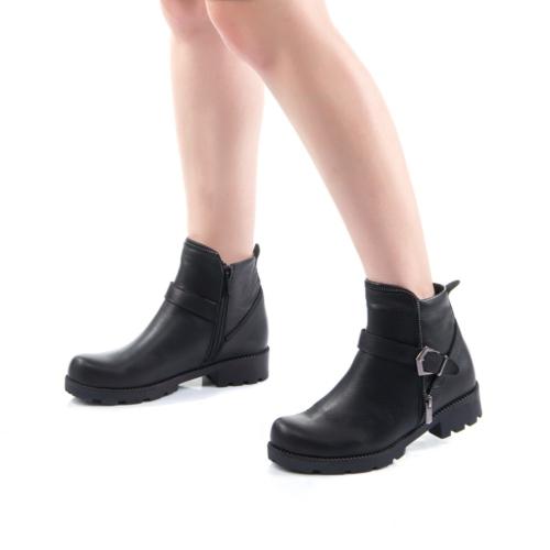 Modabuymus Hakiki Deri Siyah Kadın Bot